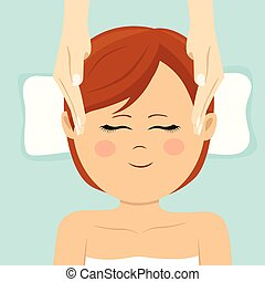 Young woman having head massage in spa. Top view