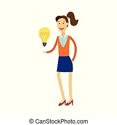 Young woman having idea illustration - smiling girl holding light bulb as symbol of great idea.