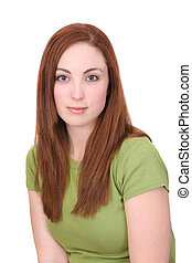young woman headshot - one young twenties red haired woman ...