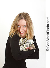 Young woman hiding dollars and have greedy face - Young...