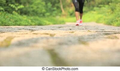 young woman hiker legs walking - young woman hiker legs...