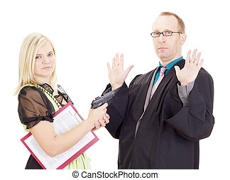 Young woman hold a lawyer at gunpoint