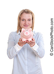 Young woman hold a piggy bank in her both hands