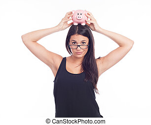 Young woman hold a piggy bank