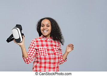 Young Woman Hold Virtual Reality Digital Glasses African...