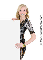 Young woman holding a blank billboard isolated on white