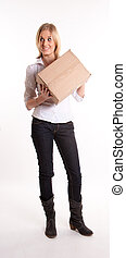 Young woman holding a box
