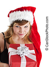 young woman holding a christmas gift isolated on white