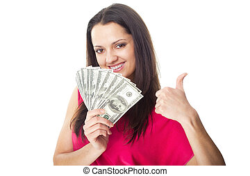 Young woman holding a dollar bills - Portrait of pretty...