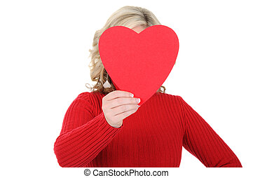 Young Woman Holding a Paper Heart