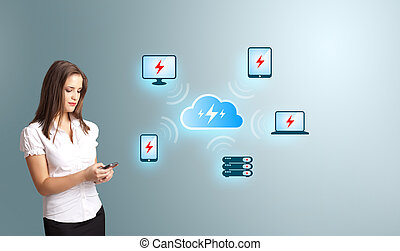 Young woman holding a phone with cloud computing network