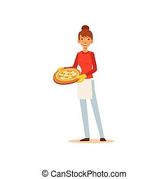 Young woman holding a pizza, housewife girl cooking food in the kitchen flat vector Illustration