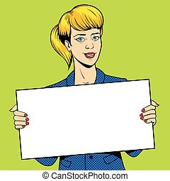 Young woman holding a sign pop art vector