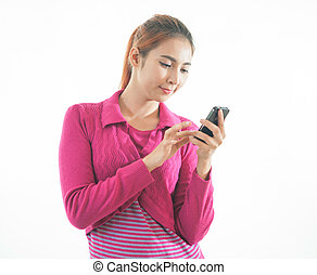 Young woman holding a smart phone isolated