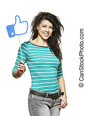 Young woman holding a social media sign smiling on white...