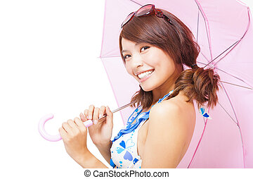 young woman holding a umbrella. isolated on a white background