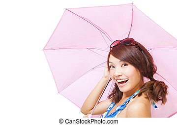 young woman holding a umbrella. isolated on a white