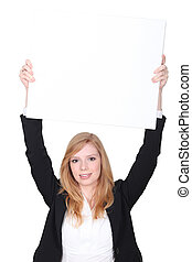 young woman holding an empty advertising board