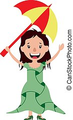 Young woman holding an umbrella illustration vector on white background