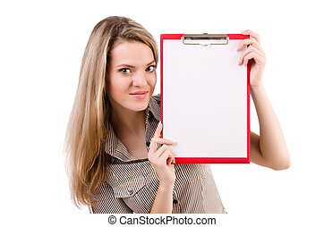 Young woman holding blank isolated on white