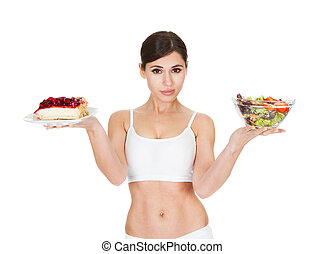 Young Woman Holding Cake And Salad