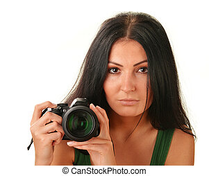 Young woman holding camera isolated on white