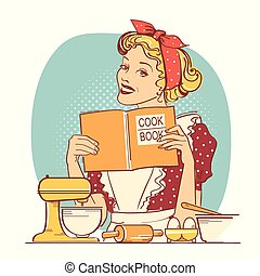 Young woman holding cook book in her hands on kitchen room. Reto style color illustration