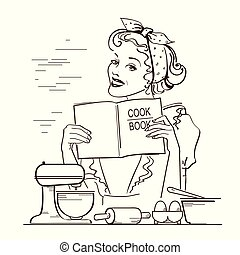 Young woman holding cook book in her hands on kitchen room.Reto style illustration