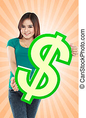 Young woman holding dollar sign
