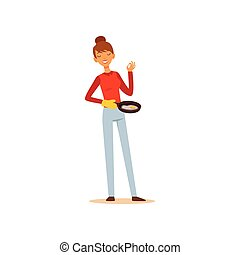 Young woman holding frying pan with fried eggs, housewife girl cooking food in the kitchen flat vector Illustration