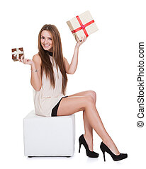 Young Woman Holding Gifts
