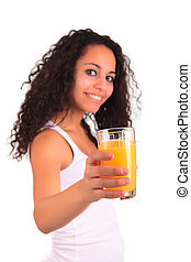 Young woman holding glass of orange juice isolated over white background
