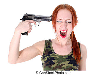 Young Woman holding Handgun