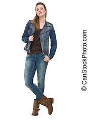 Young Woman Holding Jeans Jacket