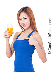 young woman holding orange juice