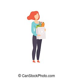 Young woman holding paper bag with healthy food, girl doing shopping at the grocery shop vector Illustration on a white background