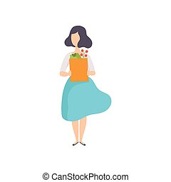 Young woman holding paper bag with vegetables, girl doing shopping at the grocery shop vector Illustration on a white background