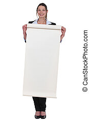 young woman holding paperboard