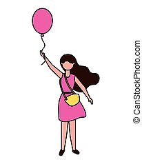 young woman holding party balloon