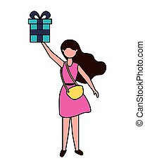 young woman holding party gift box