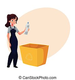 Young woman holding plastic bottle, waste, garbage recycling concept