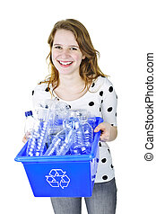 Young woman holding recycling box