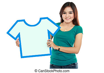 Young woman holding shirt sign