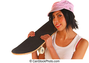 Young woman holding skateboard