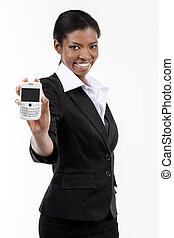 Young woman holding smart phone