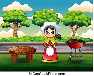 Young woman holding steak in barbecue grill outdoors