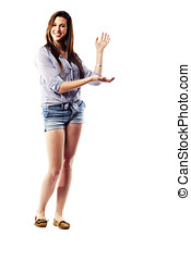 Young woman holding up hands