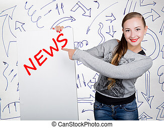 Young woman holding whiteboard with writing word: news. Technology, internet, business and marketing.