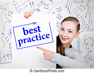 Young woman holding whiteboard with writing word: best practice. Technology, internet, business and marketing.