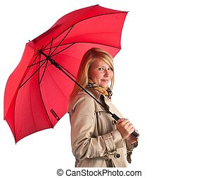 young woman holds red umbrella